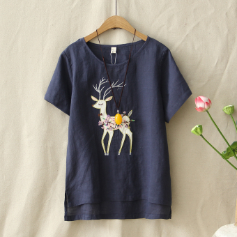 Loose literary embroidery female short-sleeved embroidered Top T-shirt (Dark blue color)