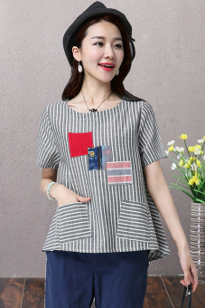Loose literary Linen Plus-sized striped Top T-shirt (Multi-block patch)
