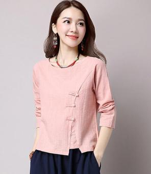 Loose national style cotton linen solid color New style Top (Pink) (Pink)