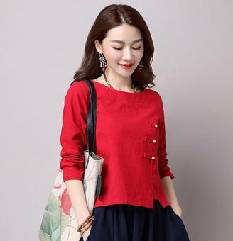 Loose national style cotton linen solid color New style Top (Red) (Red)