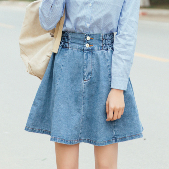 Loose student pleated short skirt Korean-style denim dress