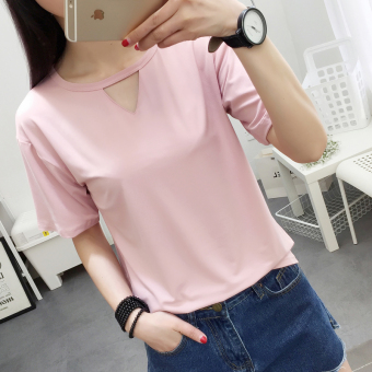 Loose wild female V-neck hollow Short sleeve Top T-shirt (Pink color)