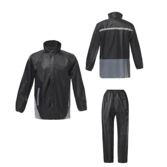 luminous thickened rain coat suit - Black - intl