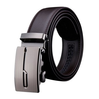 Luxury Men's Genuine Automatic Waistband Buckle Leather FashionBelt Waist Strap Brown