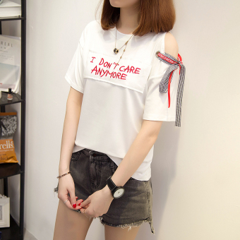 Lvka Women's Loose Letter-print Ripped Half Sleeve T-Shirt Color Varies (616 * white)