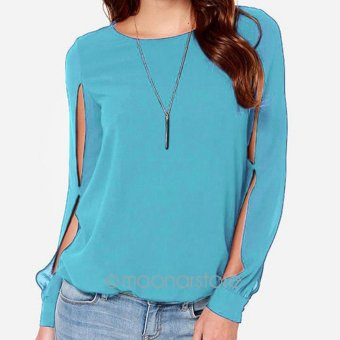 Makiyo Womens Long Sleeve Chiffon Tops Shirt(Sky Blue) - intl Price Philippines