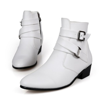Men British leather boots pointed martin boots fashion ankle boots - intl Price Philippines