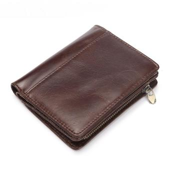 Men Casual Genuine Cowhide Leather Wallet Vintage Design Small Coin Purse Male Short Slim Zipper Bifold Wallet Card Photo Holder - intl