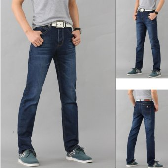 Men Casual Straight Jeans Summer Denim Loose Pants Blue - intl