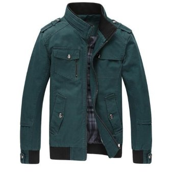Men Fashion Cotton Jacket Windproof Winter Coat(Dark green) - intl