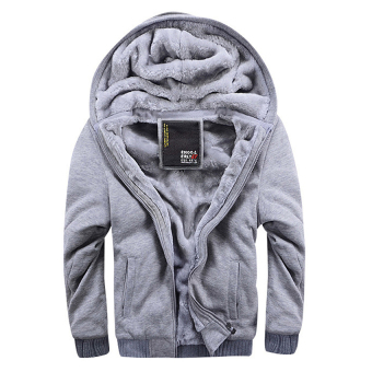 Men Fashion Hooded Thick Thermal Plus Size Winter Jackets(Light Grey) - intl