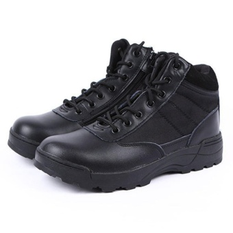 Men Outdoor Tactical Boots Military Combat Shoes Breathable HikingDesert Boots(Black) - intl