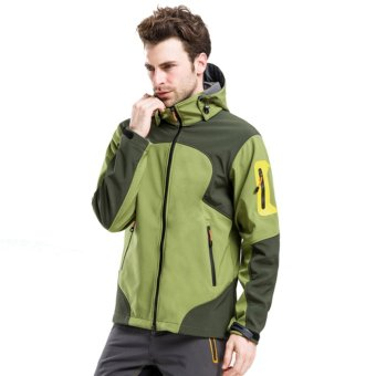 Men Outdoor Thermal Waterproof Windproof Lightweight Hiking CampingJackets(Army Green) - intl