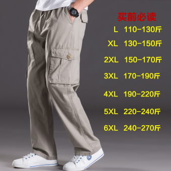 Men Plus-sized multi-with pockets trousers thin casual pants (2013 light gray)