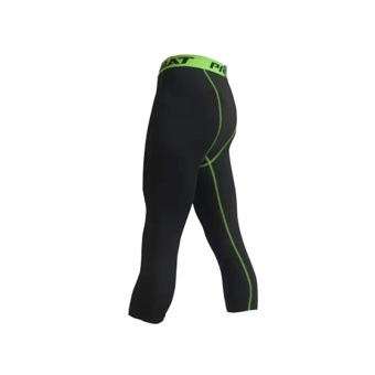 Men running training fitness leggings athletic pants (Black + green)
