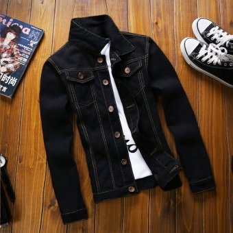 men slim fit spring autumn fashion denim jacket coatblack - intl