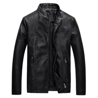 Men Slim PU Leather Jacket Classic Thick Warm Coat(Black) - intl