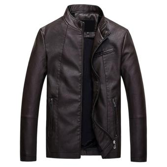 Men Slim PU Leather Jacket Classic Thick Warm Coat(Coffee) - intl