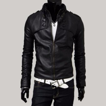 Men Stand Collar Slim Leather Jacket - intl