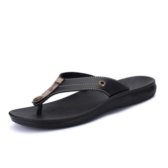 Men summer non-slip sandals and slippers flip-flops (Black)