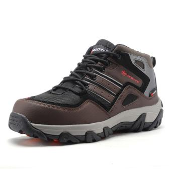 men winter warm steel toe cap work safety shoes casual reflective breathable outdoor boots puncture proof footwear - intl