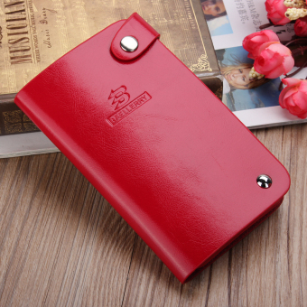 Men Woman Slim ID Credit Card Leather Holder Pocket Case Purse Wallet Button NEW Red