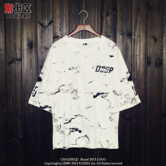 Men's American and European Style Hiphop Graffiti Loose Elbow Sleeve Batwing Shirt (White)