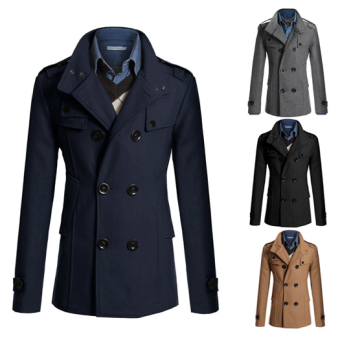 Men's Fashion Coat Double Breasted Woolen Trench Coat Slim and Long Sections Winter Jackets (Dark blue) - intl