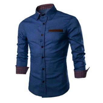 Men's fashion long-sleeved shirt Korean Slim solid color denim shirt light blue