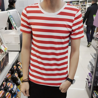 Men's Japanese-style Slim Fit Striped Round Neck Hald Sleeve Shirt (DT09-red stripe)