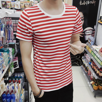 Men's Japanese-style Slim Fit Striped Round Neck Hald Sleeve Shirt (DT11-red stripe)