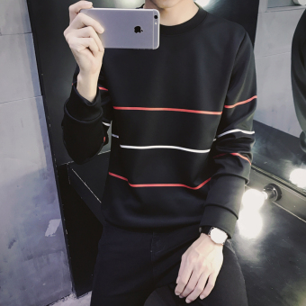 Men's Korean-style Bottom T-Shirt/Hoodie Sweater (Hoodie 30 red stripe-black)