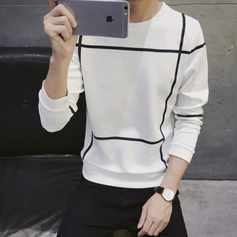 Men's Korean-style Bottom T-Shirt/Hoodie Sweater (Hoodie 31-white)