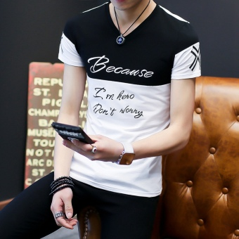 Men's Korean-style Fashionable Print V-Neck Short Sleeve T-Shirt (Lettered on the black)