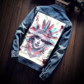 Men's Korean-style Individualistic Print Slim Fit Denim Jacket