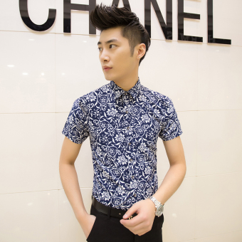 Men's Korean-style Slim Fit Floral Print Short Sleeve Thin Shirt (D02 feet green)