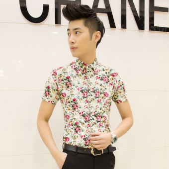 Men's Korean-style Slim Fit Floral Print Short Sleeve Thin Shirt (D05 off-white)
