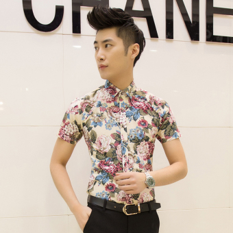 Men's Korean-style Slim Fit Floral Print Short Sleeve Thin Shirt (D06 off-white)