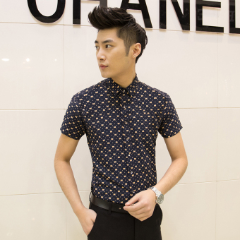 Men's Korean-style Slim Fit Floral Print Short Sleeve Thin Shirt (D11 feet green)