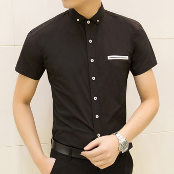 Men's Korean-style Slim Fit Floral Print Short Sleeve Thin Shirt (D19 black)