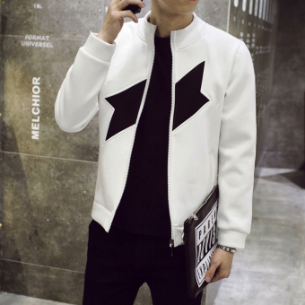 Men's Korean-style Slim Fit Leisure Cardigan Sweater (CHUSIHAI-white)