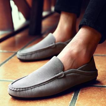 Men's Leather Casual Loafer Shoes Light Driving Shoes Grey - intl