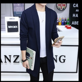 Men's Long Knitted Lapel Open Front Cardigan-Navy Blue - Intl