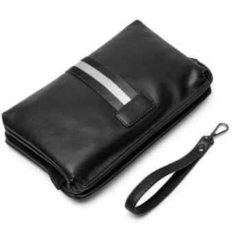 Men's Retro Leather Clutch Hand Bag Business Handbag Envelope Metrosexual Casual Mobile Phone Bag(black) - intl Price Philippines