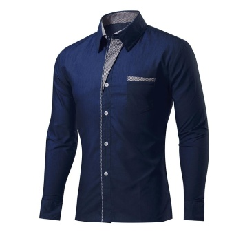 Men's Shirts Long Sleeve Shirt Slim patchwork plus size for Men Navy blue - intl