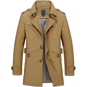 Men's Single Breasted Trench Jackets & Coats - Dark Khaki - intl