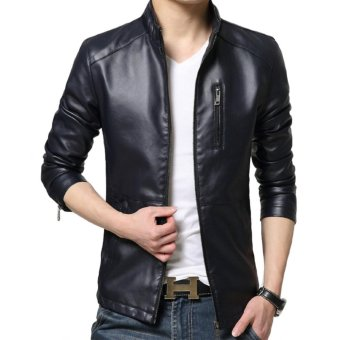 Men's Slim PU Leather Motorcycle Jackets Leisure Jacket Coat(Dark Blue) - intl