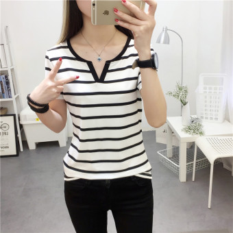 Mengqifu Women's Slim Fit Striped V-Neck Short Sleeve T-Shirt Color Varies (8009 white)
