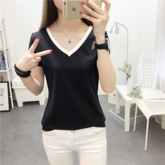 Mengqifu Women's Slim Fit Striped V-Neck Short Sleeve T-Shirt Color Varies (8010 black)