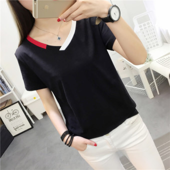 Mengqifu Women's Slim Fit Striped V-Neck Short Sleeve T-Shirt Color Varies (8012 black)